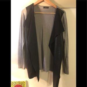 Zara Faux Leather Knit Cardigan